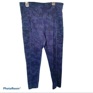 TUFF ATHLETICS Blue camo high waist leggings sz M